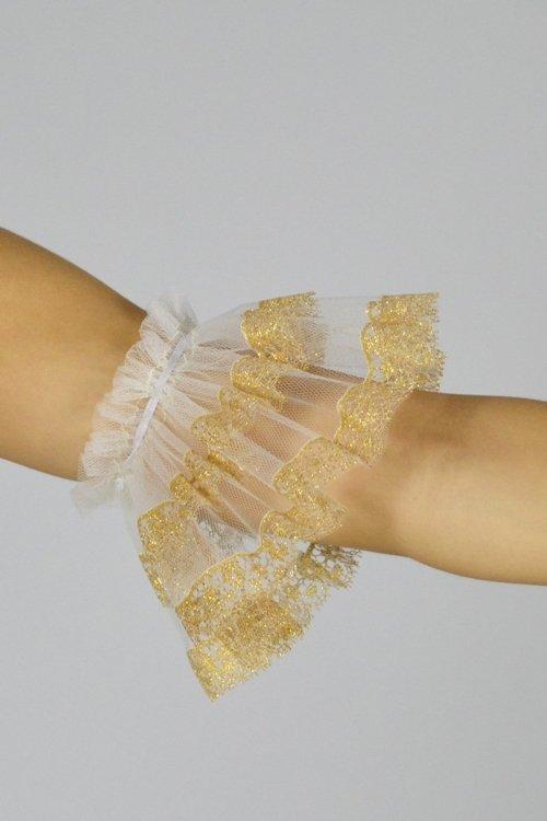 Manicotti in tulle o scintilla a due lunghezze, con elastico solo sopra. Rifinitura con nastro Oro o Argento