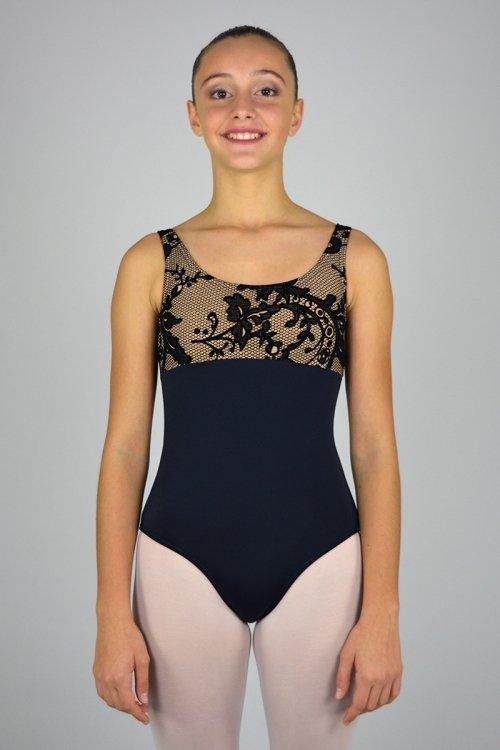 112/K Body con spalla sottile. Parte superiore in pizzo Floccato prodotti    Atelier della Danza