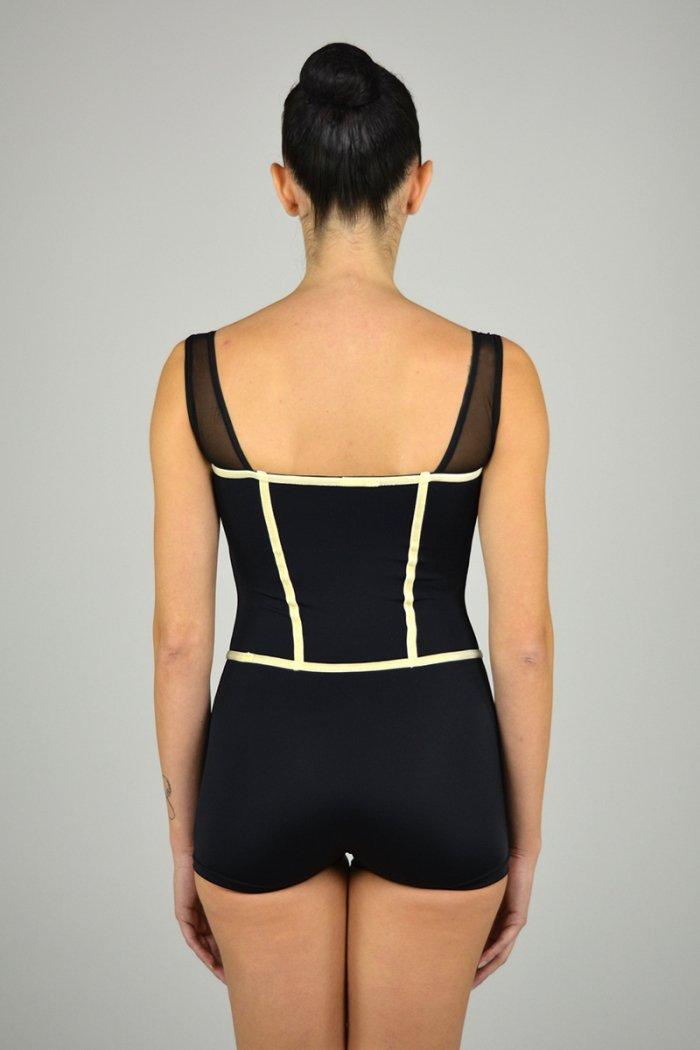 1190 Tuta a gamba corta con spalla in retina. Torace con rifiniture in velluto prodotti    Atelier della Danza