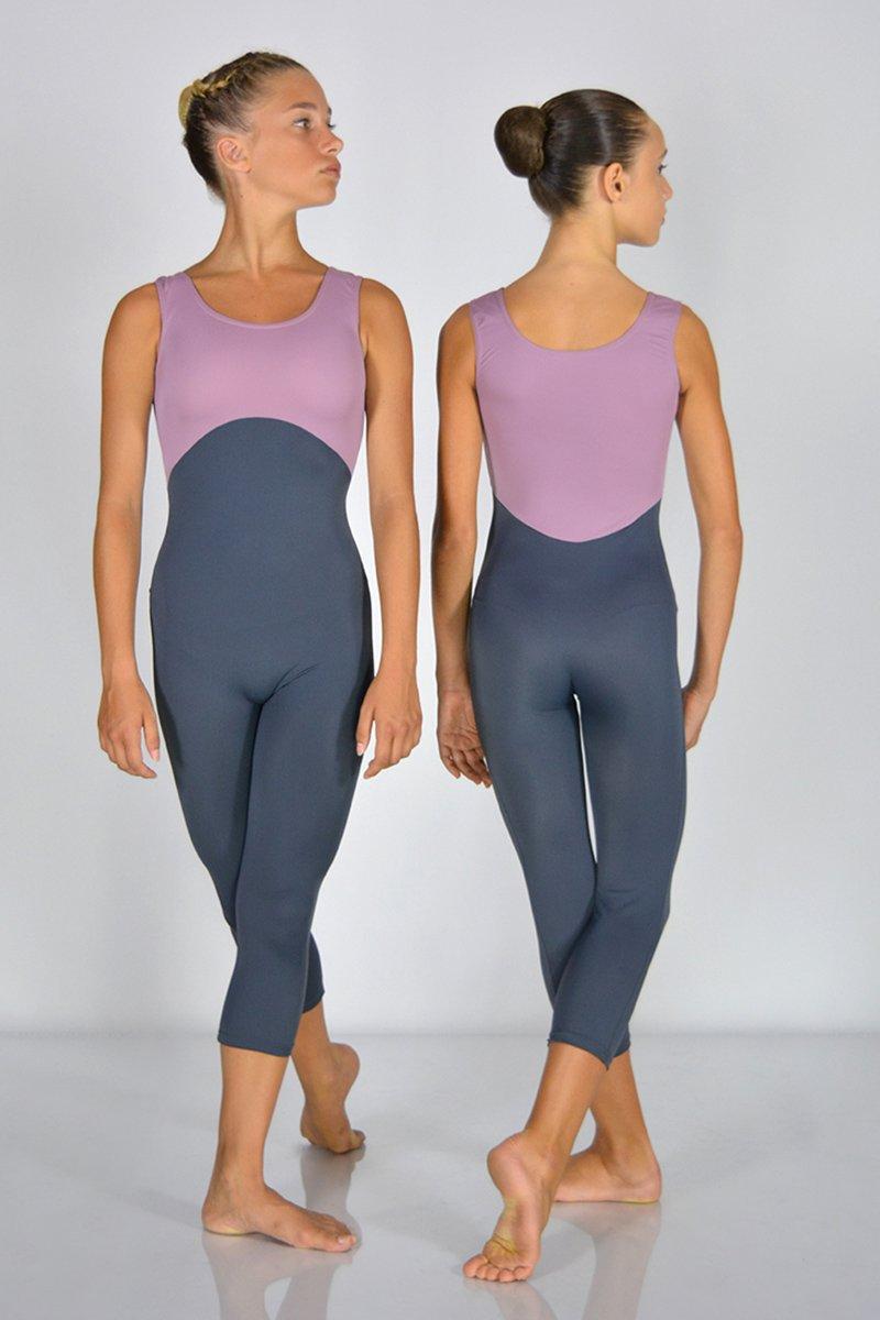 1192 Tuta bicolore a spalla larga. Gamba al polpaccio. Taglio sotto seno. prodotti    Atelier della Danza