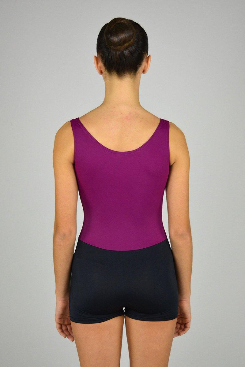 1209 Tuta a spalla larga con scavo a V. Pantaloncino in contrasto di colore prodotti    Atelier della Danza