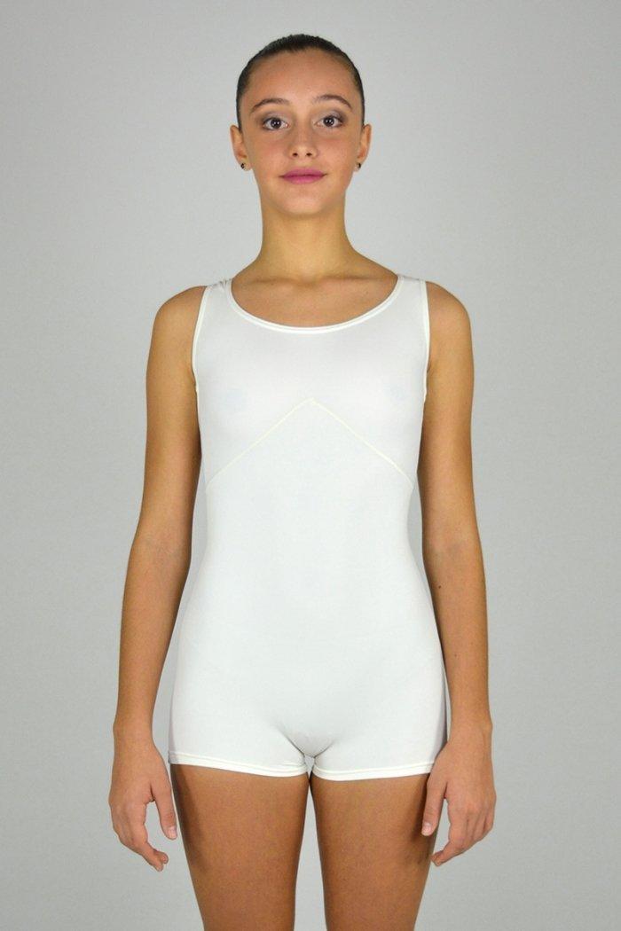 1221 Tuta a pantaloncino con taglio sotto il seno. Bretelle decorative. prodotti    Atelier della Danza