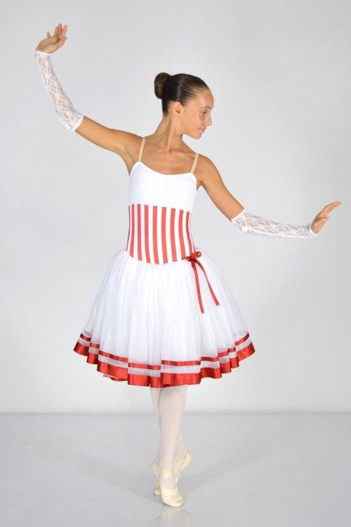 Mary Poppins Mod. 1457 - Body con spalle in retina. Rifiniture in raso. Gonna in tulle morbido - 4 strati - h da 30 a 80 cm prodotti    Atelier della Danza
