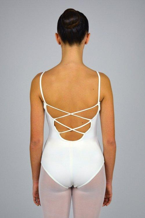 172 Body con bretelle sottili. Scavo profondo schiena. Incroci decorativi prodotti    Atelier della Danza