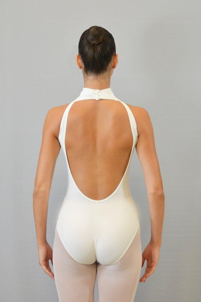 """174/C Body """"americano"""" con collo alto. Schiena profonda. Parte centrale in ciniglia prodotti    Atelier della Danza"""