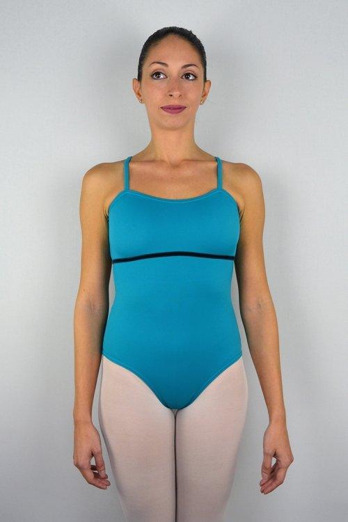 180/A Body con bretelle sottili. Buco nella schiena. Velluto sotto seno davanti prodotti    Atelier della Danza