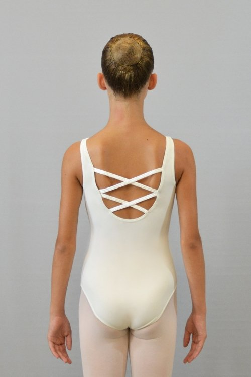 228/C Body con spalla sottile. Schiena profonda con incroci. Parte superiore in ciniglia prodotti    Atelier della Danza