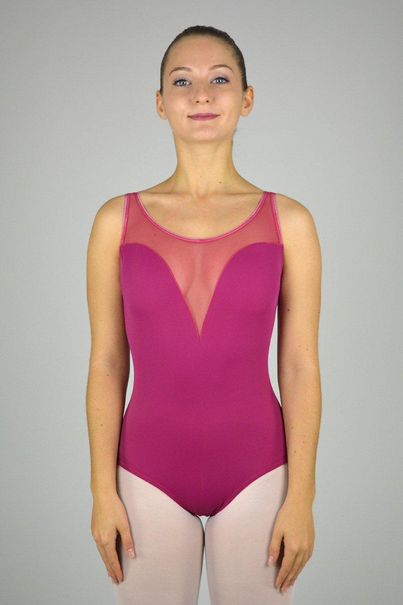 291 Body smanicato. Scavo a cuore sul seno. Parte superiore in retina prodotti Atelier della Danza
