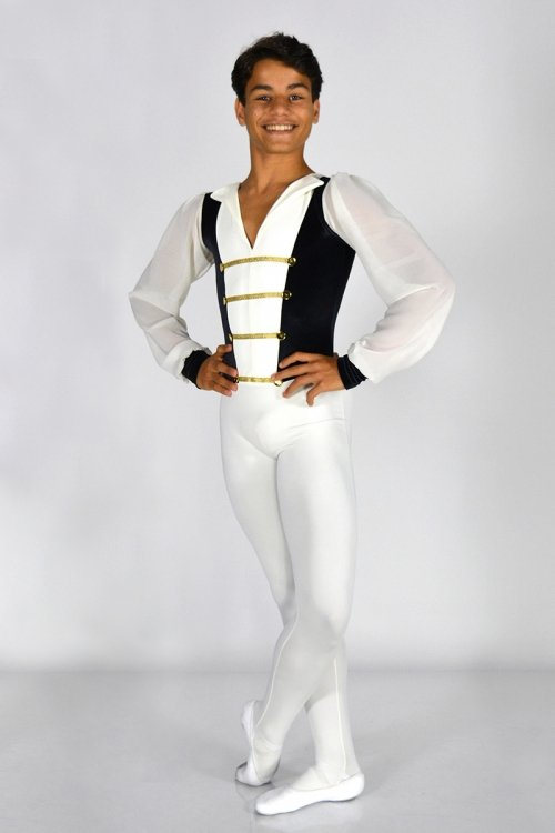 Principe Mod. 3024 -Tuta: gamba lunga con piede. Torace con rifiniture Oro o Argento. Manica lunga in voile. prodotti    Atelier della Danza