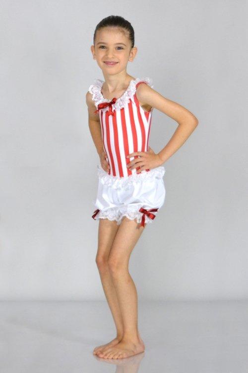 Marinaretta - Mod. 4026 Mod. 4026 - Tutina con pantaloncino a sbuffo. Rifiniture in raso e pizzo. prodotti    Atelier della Danza