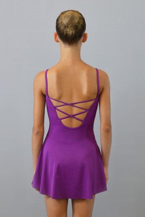 4048 Abitino con body a bretellina. Incroci sulla schiena. Gonna lunga a metà coscia. prodotti    Atelier della Danza