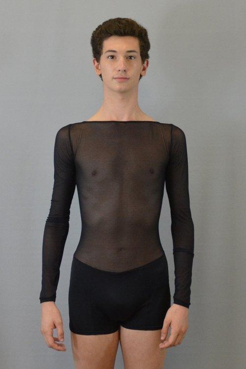 589 Tuta a pantaloncino con manica lunga. Maniche e torace davanti in retina. prodotti    Atelier della Danza