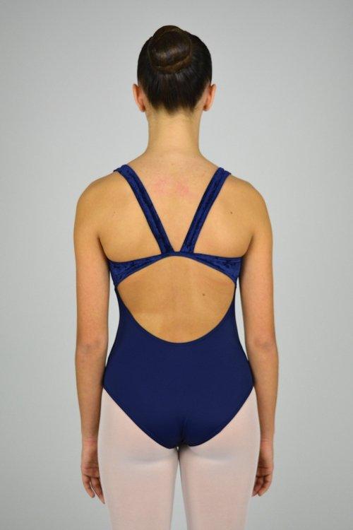 8021/C Body con spalla sottile e scavo nella schiena. Parte superiore in ciniglia prodotti    Atelier della Danza