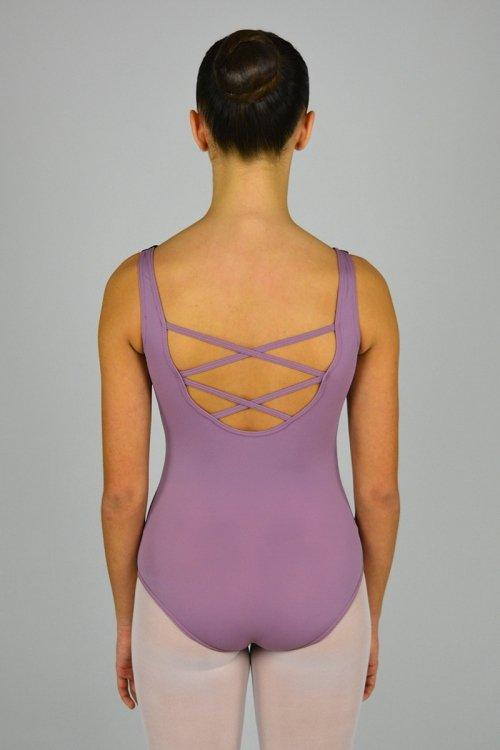 8032/K Body con spalla sottile. Schiena con incroci. Taglio sotto il seno. Riprese davanti. Seno in pizzo Floccato prodotti    Atelier della Danza