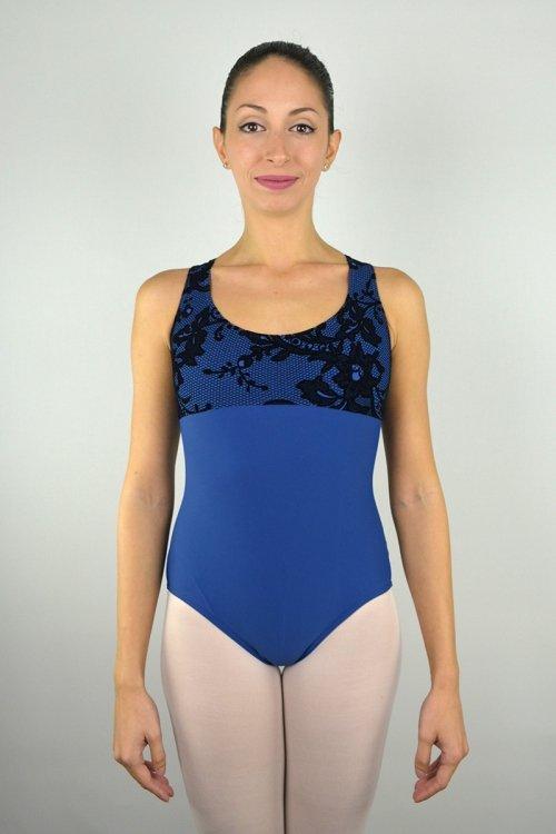 """8056/K Body con girocollo """"americano"""". Bretelle decorative sulla schiena. Parte superiore in pizzo Floccato prodotti    Atelier della Danza"""
