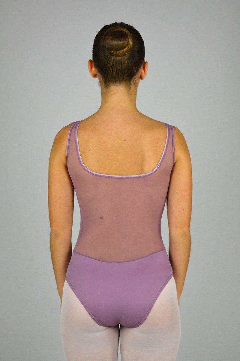 8104 Body smanicato. Parte superiore e schiena in retina prodotti    Atelier della Danza