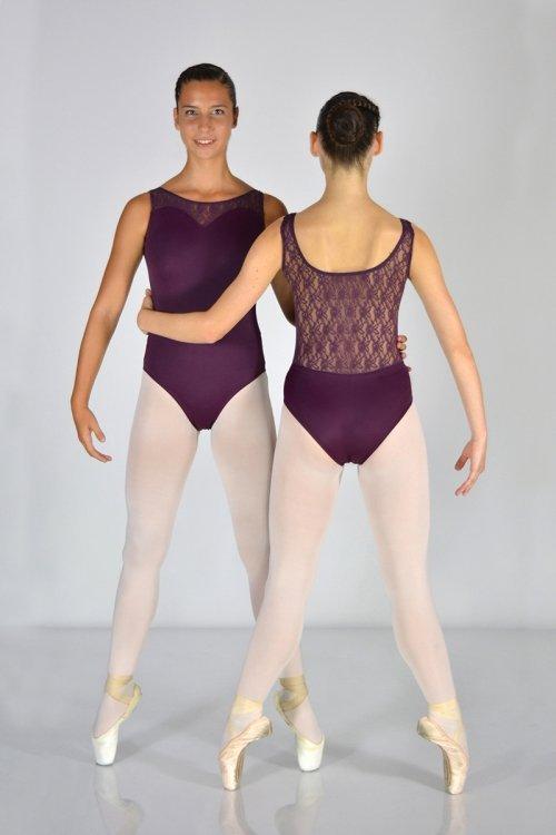 8104/Z Body smanicato. Parte superiore e schiena in pizzo prodotti    Atelier della Danza