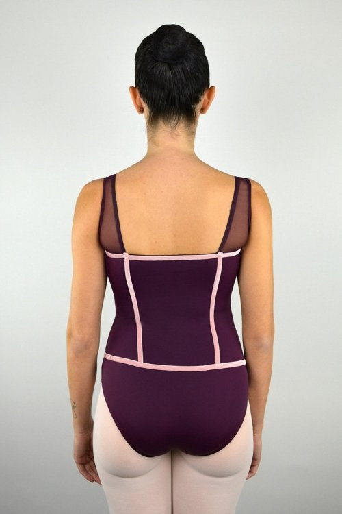 8120 Body con spalle in retina. Torace con rifiniture in velluto prodotti Atelier della Danza