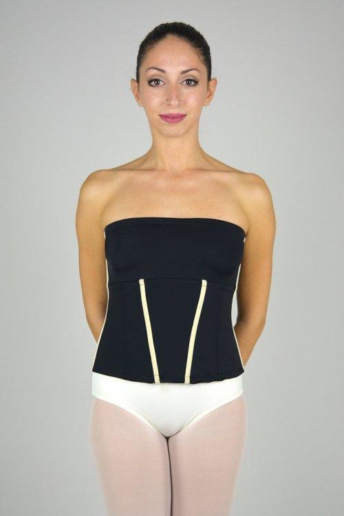 911/A Bustino con fascia seno. Rifiniture in velluto - senza stecche prodotti    Atelier della Danza